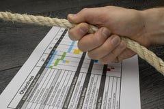 Gestor de projeto responsável ou responsável para o plano do projeto Imagens de Stock