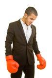 Gestore con i guanti di inscatolamento Immagine Stock