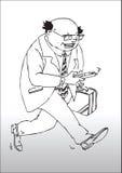 Gestore corporativo occupato del fumetto Fotografie Stock Libere da Diritti