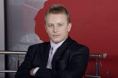 gestore della televisione e del commentatore del notiziario Fotografie Stock Libere da Diritti