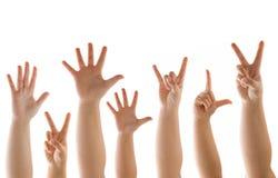 Gestos da mão e do inventor no branco Imagem de Stock Royalty Free