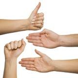 Gestos de mão ajustados Imagem de Stock