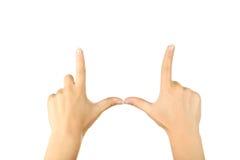 Gestos de mão fêmeas, fim acima Fotografia de Stock Royalty Free