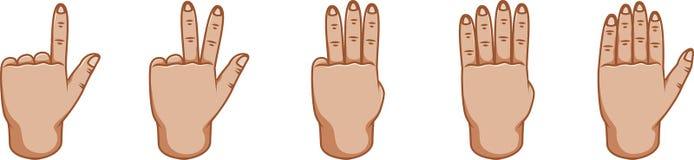 Gestos de mano, gran diseño para cualquier propósitos números Línea icono del gesto Gestos del vector Fondo blanco Lado externo stock de ilustración