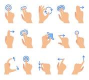 Gestos de mano de la pantalla táctil La comunicación de los dispositivos de la pantalla táctil, fricción usando el gesto del fing stock de ilustración