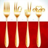 Gestos de oro de la fork Fotos de archivo