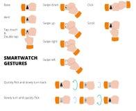 Gestos de Smartwatch Coleção das mãos com smartwatch Graphhics do vetor Imagens de Stock