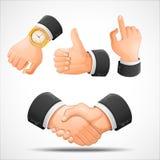 Gestos do aperto de mão e de mão Fotografia de Stock
