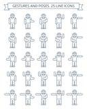 Gestos e linha ícones das poses Imagens de Stock