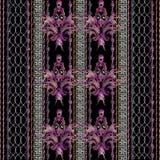 Gestreept borduurwerk bloemen naadloos patroon royalty-vrije illustratie