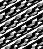 Gestreept 3D Cilindrisch Gaten Vector Naadloos Patroon Royalty-vrije Stock Afbeeldingen
