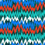 Gestreept hand getrokken patroon met zigzaglijnen Stock Afbeelding