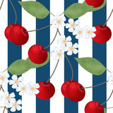 Gestreept kersen naadloze patroon en bloemen Royalty-vrije Stock Afbeelding