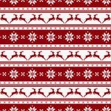 Gestreept Kerstmispatroon met deers Vector naadloze achtergrond Stock Afbeelding