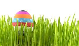 Gestreept paasei in gras Stock Afbeeldingen