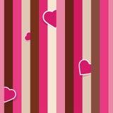 Gestreept roze naadloos patroon met harten Royalty-vrije Stock Afbeelding