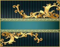 Gestreepte achtergrond met patroon van gilde royalty-vrije illustratie