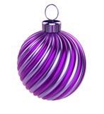 Gestreepte close-up van de Kerstmisdecoratie van de Kerstmisbal de purpere violette vector illustratie