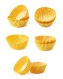 Gestreepte cupcakedocument koppen royalty-vrije stock afbeeldingen