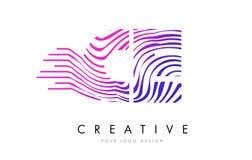 Gestreepte de Lijnenbrief Logo Design van Ce C E met Magenta Kleuren Royalty-vrije Stock Afbeelding