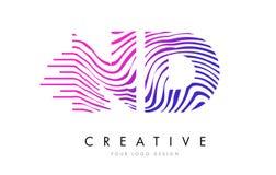 Gestreepte de Lijnenbrief Logo Design van Nd N D met Magenta Kleuren Stock Foto