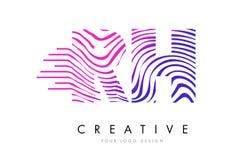 Gestreepte de Lijnenbrief Logo Design van relatieve vochtigheid R H met Magenta Kleuren Royalty-vrije Stock Foto's