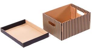 Gestreepte doos op een witte achtergrond stock fotografie