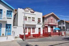 Gestreepte gekleurde huizen, Costa Nova, Beira Litoral, Portugal, Eur Stock Afbeelding