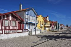 Gestreepte gekleurde huizen, Costa Nova, Beira Litoral, Portugal, Eur Royalty-vrije Stock Foto