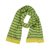 Gestreepte groene en gele wolsjaal stock fotografie
