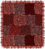 Gestreepte Grunge watteerde tapijt met rand in bruine, roze, violette, zwarte kleuren vector illustratie
