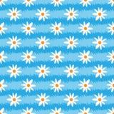 Gestreepte grungetextuur met bloemen Borstelslagen, abstract madeliefje Naadloos patroon Royalty-vrije Stock Foto
