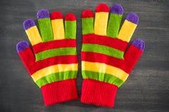 Gestreepte handschoenen royalty-vrije stock foto's