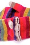 Gestreepte Handschoenen met Vingers Royalty-vrije Stock Foto's