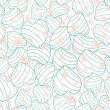 Gestreepte harten van pastelkleur pakten de blauwe bouncy en behandelden samen de ter beschikking getrokken roze bloemen van de g stock illustratie