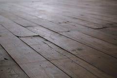 Gestreepte houten de textuurachtergrond van de vloer selectieve nadruk Royalty-vrije Stock Afbeeldingen
