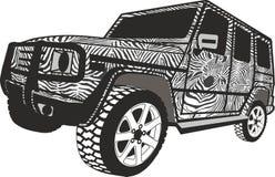Gestreepte Off-road auto royalty-vrije illustratie