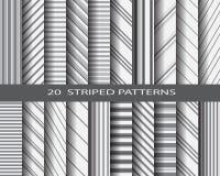 20 gestreepte patroonreeks Stock Foto