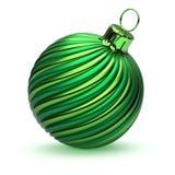 Gestreepte retro modieus van de groene de decoratieclose-up van de Kerstmisbal stock illustratie
