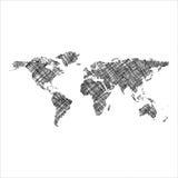 Gestreepte zwarte wereldkaart stock illustratie