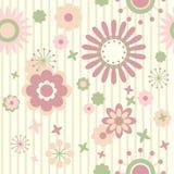 Gestreifte Blumentapete lizenzfreie abbildung