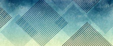 Gestreifte Diamantformen auf abstraktem blauem und gelbem strukturiertem Hintergrunddesign vektor abbildung