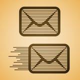 Gestreifte eMail-Umschlagikone Stockbilder