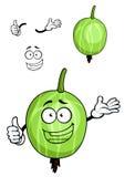 Gestreifte Frucht des Karikaturgrüns Stachelbeer Stockbilder