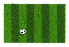 Gestreifte Fußballplatzbeschaffenheit mit Fußball, Hintergrund mit der Draufsicht des Kopienraumes - lokalisiert auf weißem Hinte Lizenzfreie Stockfotos