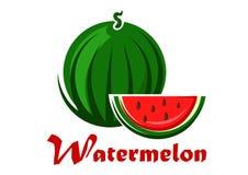 Gestreifte grüne Wassermelone der Karikatur mit Scheibe Lizenzfreie Stockfotos