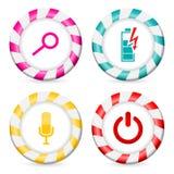Gestreifte Knopfentwürfe mit verschiedenen Ikonen Stockbilder