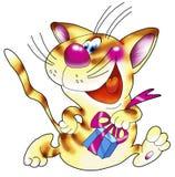Gestreifte rote Katze mit einem Geschenk. Stockbilder