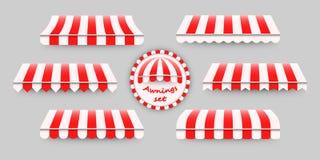 Gestreifte, rote und weiße Markisen eingestellt Stockfoto