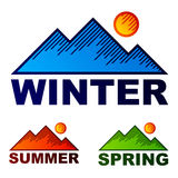 Gestreifte Wintersommer-Frühlingsberge Lizenzfreies Stockbild